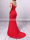 Sheath/Column Off-the-shoulder Silk-like Satin Sweep Train Ruffles Prom Dresses #Favs020102332