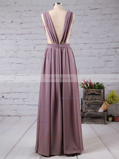 A-line V-neck Floor-length Chiffon Prom Dresses with Split Front #Favs020103543