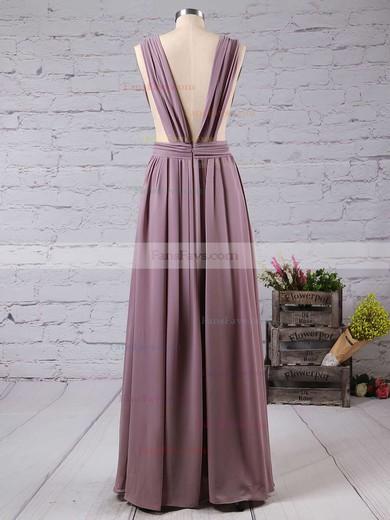 A-line V-neck Floor-length Chiffon Prom Dresses with Split Front #Favs020103543