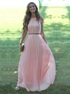 A-line Scoop Neck Chiffon Floor-length Sashes / Ribbons Prom Dresses #Favs020103547