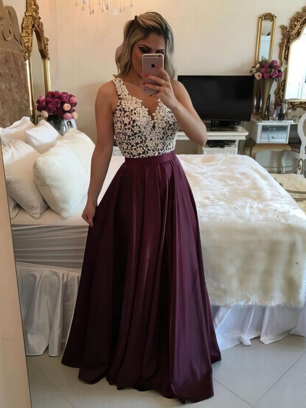 A-line V-neck Satin Floor-length Appliques Lace Prom Dresses #Favs020103548