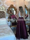 A-line V-neck Satin Floor-length Appliques Lace Prom Dresses #Favs020103548