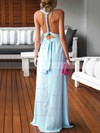 Sheath/Column V-neck Floor-length Chiffon Prom Dresses with Ruffle #Favs020103552
