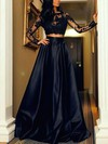 A-line Scoop Neck Satin Floor-length Appliques Lace Prom Dresses #Favs020103569