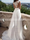 A-line Scoop Neck Sweep Train Chiffon Prom Dresses with Appliques Lace Split Front #Favs020103578