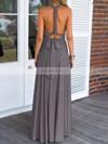A-line V-neck Chiffon Floor-length Prom Dresses #Favs020103579