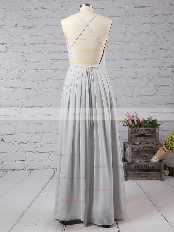 Sheath/Column V-neck Floor-length Chiffon Prom Dresses with Split Front #Favs020103583