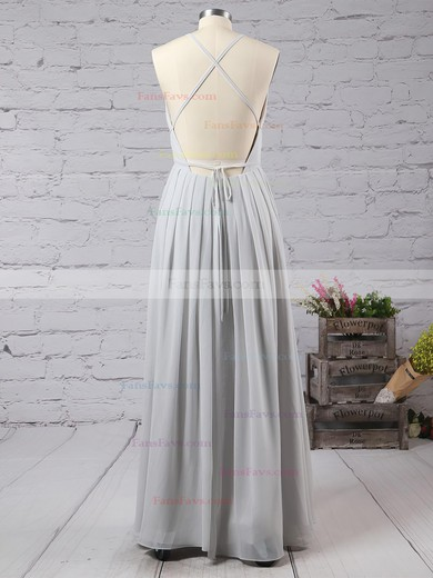 Sheath/Column V-neck Floor-length Chiffon Prom Dresses with Split Front #Favs020103583