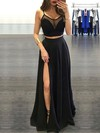 A-line Scoop Neck Chiffon Floor-length Split Front Prom Dresses #Favs020103593