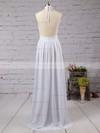 A-line Halter Chiffon Floor-length Split Front Prom Dresses #Favs020103638