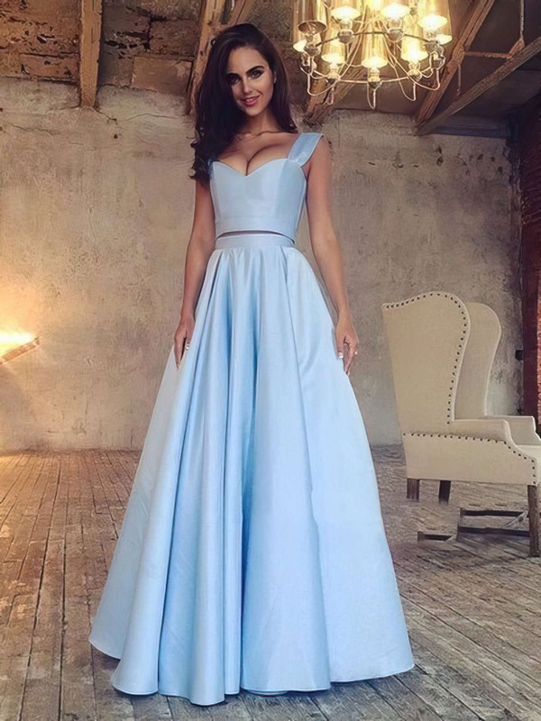 A-line V-neck Floor-length Satin Prom Dresses with Ruffle #Favs020103649