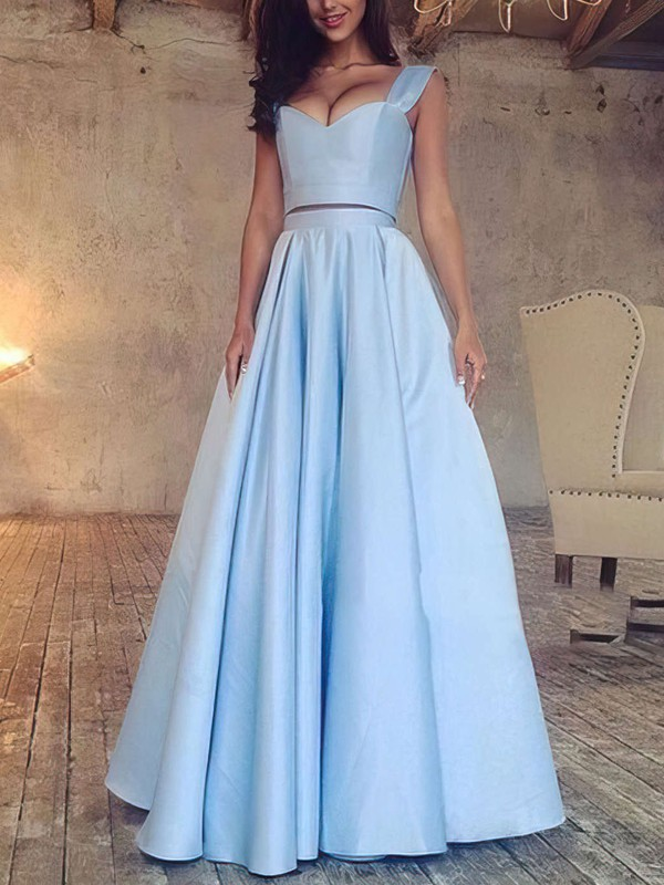 A-line V-neck Satin Floor-length Prom Dresses #Favs020103649