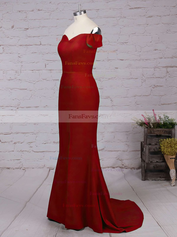 Trumpet/Mermaid Off-the-shoulder Sweep Train Chiffon Prom Dresses with Split Front #Favs020103671