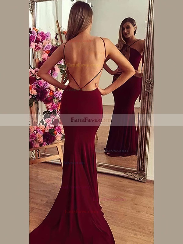Trumpet/Mermaid V-neck Jersey Court Train Prom Dresses #Favs020103672