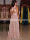 A-line V-neck Floor-length Chiffon Prom Dresses with Ruffle #Favs020103692