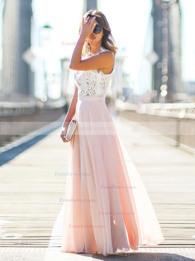 A-line Scoop Neck Lace Chiffon Floor-length Beading Prom Dresses #Favs020103784
