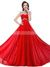 A-line Scoop Neck Chiffon Sweep Train Beading Prom Dresses #Favs020104145