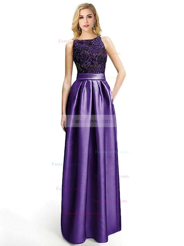 A-line Scoop Neck Satin Floor-length Appliques Lace Prom Dresses #Favs020104152