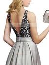 A-line Scoop Neck Satin Floor-length Appliques Lace Prom Dresses #Favs020104152