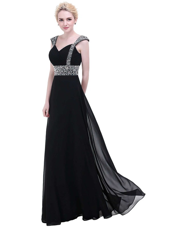 A-line V-neck Floor-length Chiffon Prom Dresses with Beading Ruffle #Favs020104155