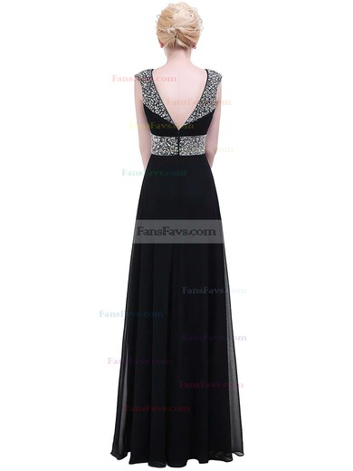 A-line V-neck Floor-length Chiffon Prom Dresses with Beading Ruffle #Favs020104155
