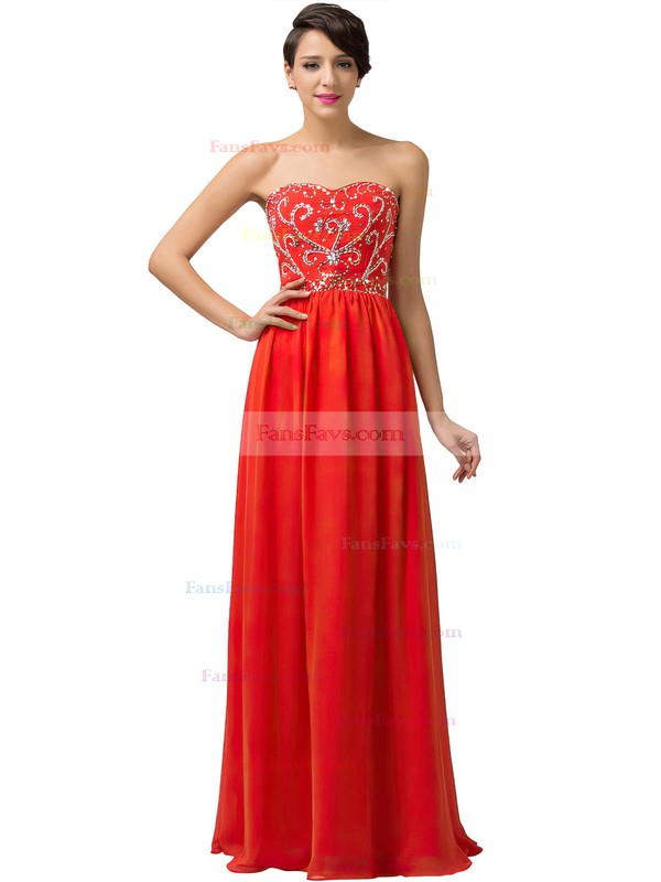 48832b96739 A-line Sweetheart Floor-length Chiffon Prom Dresses with Sequins Beading   Favs020104157