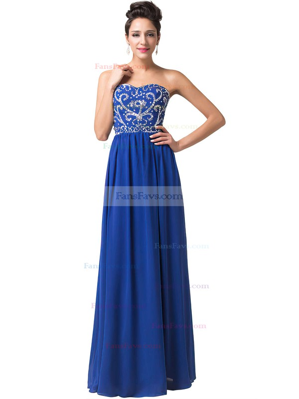 A-line Sweetheart Chiffon Floor-length Beading Prom Dresses #Favs020104157
