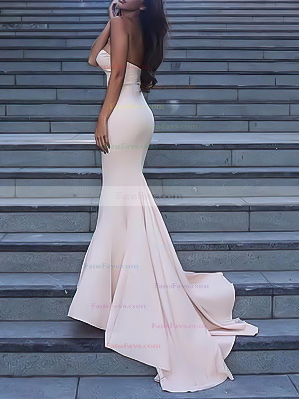 Trumpet/Mermaid Sweetheart Sweep Train Jersey Prom Dresses with Ruffle #Favs020102598