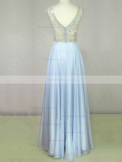 A-line Scoop Neck Chiffon Floor-length Beading Prom Dresses #Favs020104210