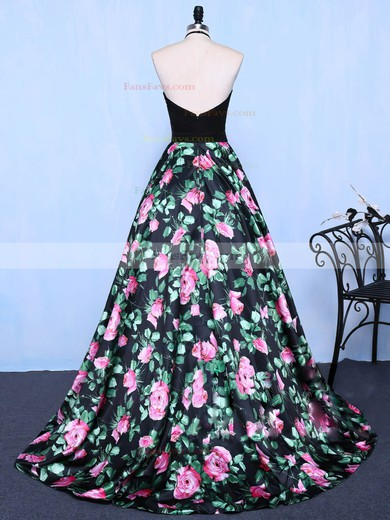 Ball Gown Halter Sweep Train Satin Tulle Prom Dresses with Beading #Favs020104267