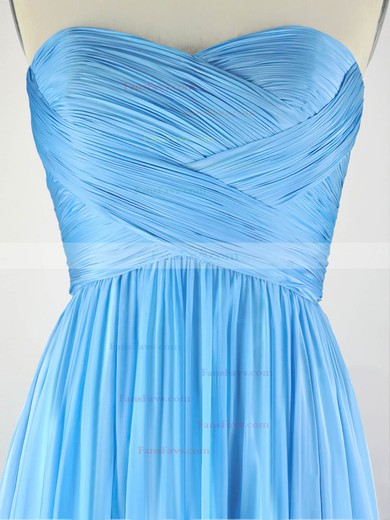 A-line Sweetheart Sweep Train Chiffon Prom Dresses with Pleats #Favs020104304