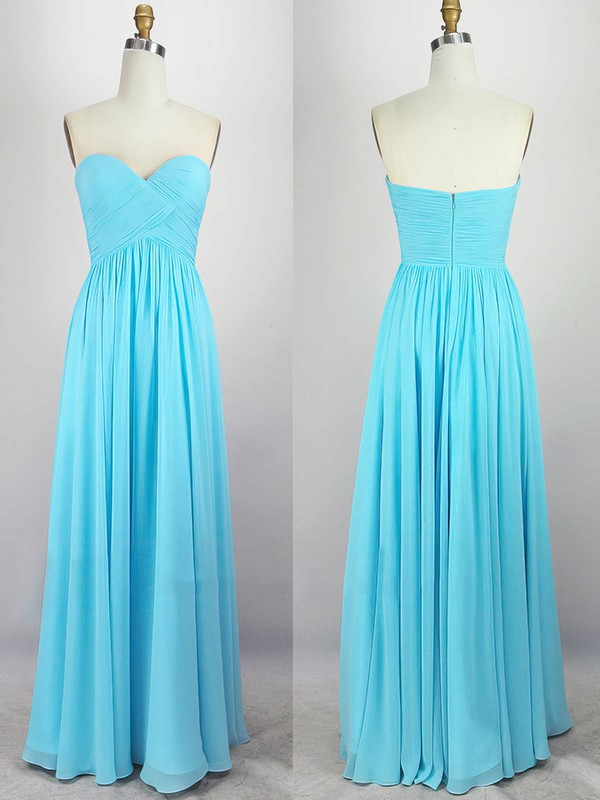 Empire Sweetheart Floor-length Chiffon Prom Dresses with Pleats #Favs020104308