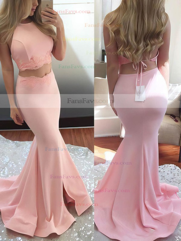 Trumpet/Mermaid Halter Sweep Train Silk-like Satin Prom Dresses with Appliques Lace Split Front #Favs020102607
