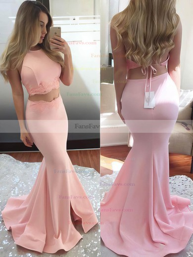 Trumpet/Mermaid Halter Jersey Sweep Train Appliques Lace Prom Dresses #Favs020102607