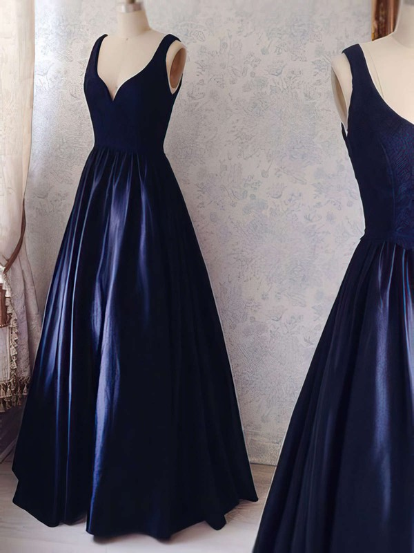 Ball Gown V-neck Floor-length Satin Prom Dresses with Lace #Favs020104364