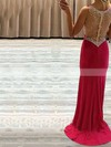 Sheath/Column V-neck Jersey Sweep Train Beading Prom Dresses #Favs020104368