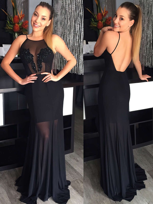 Sheath/Column Scoop Neck Sweep Train Chiffon Prom Dresses with Appliques Lace #Favs020104378