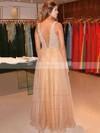 Princess V-neck Organza Floor-length Crystal Detailing Prom Dresses #Favs020104393