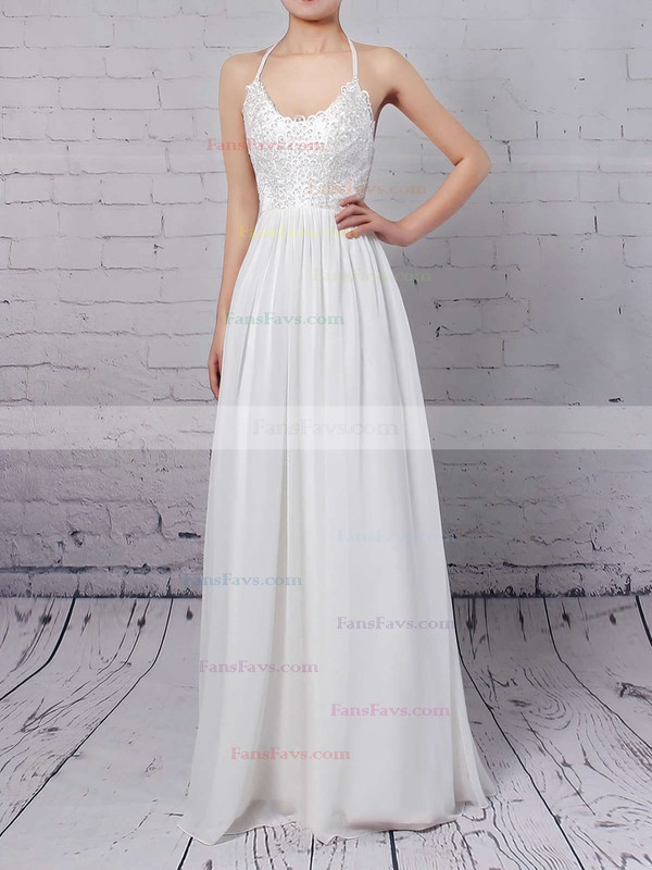 A-line V-neck Chiffon Floor-length Lace Prom Dresses #Favs020104412