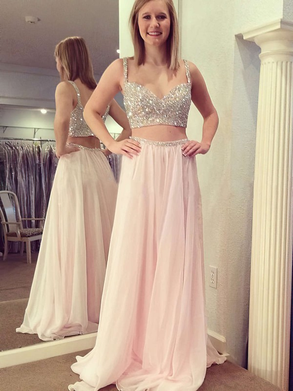 A-line V-neck Floor-length Chiffon Prom Dresses with Beading #Favs020104413