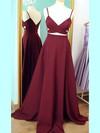 A-line V-neck Sweep Train Silk-like Satin Prom Dresses with Ruffle #Favs020102743