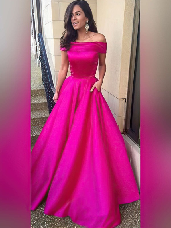 Ball Gown Off-the-shoulder Sweep Train Satin Prom Dresses with Ruffle #Favs020104481