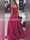 Ball Gown Off-the-shoulder Satin Sweep Train Pockets Prom Dresses #Favs020104481