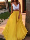 A-line V-neck Floor-length Lace Chiffon Prom Dresses with Ruffle #Favs020104484
