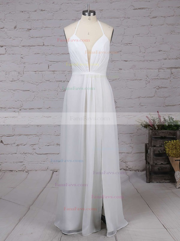 A-line V-neck Chiffon Floor-length Split Front Prom Dresses #Favs020104497