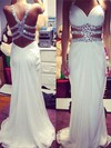 Sheath/Column V-neck Chiffon Sweep Train Beading Prom Dresses #Favs020104500