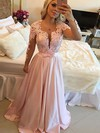 A-line Scoop Neck Sweep Train Silk-like Satin Prom Dresses with Appliques Lace Sashes #Favs020102805