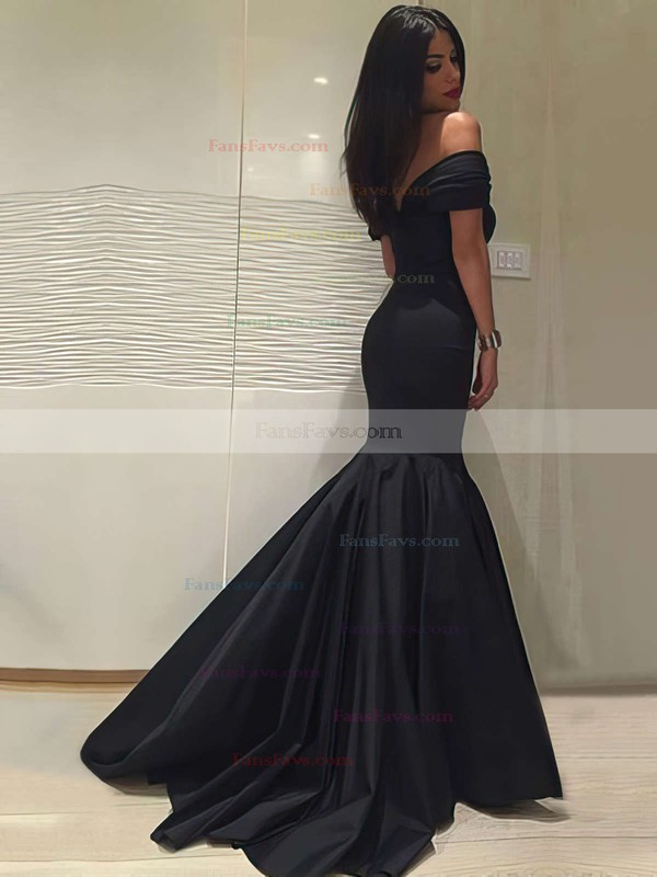 Trumpet/Mermaid Off-the-shoulder Silk-like Satin Sweep Train Ruffles Prom Dresses #Favs020104524