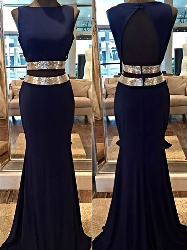 Trumpet/Mermaid Scoop Neck Chiffon Sweep Train Sequins Prom Dresses #Favs020104540