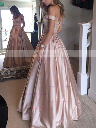 Ball Gown Off-the-shoulder Satin Floor-length Beading Prom Dresses #Favs020104578